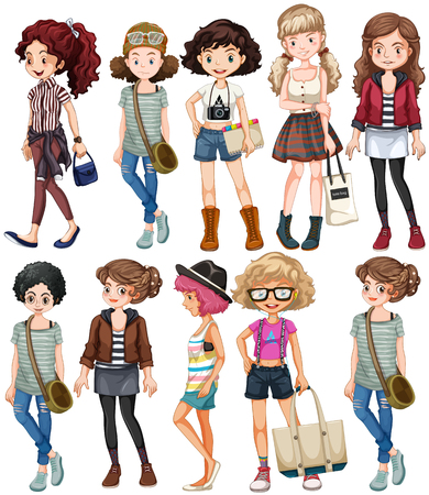 woman white shirt: Girls in different clothings illustration Illustration