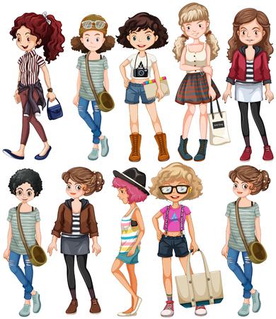 jeans skirt: Girls in different clothings illustration Illustration