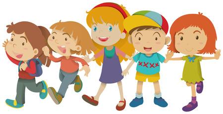 peer to peer: Chico y chicas con la cara feliz ilustración