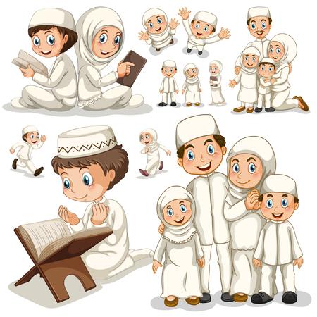 familia orando: familia musulmana en diferentes acciones ilustración