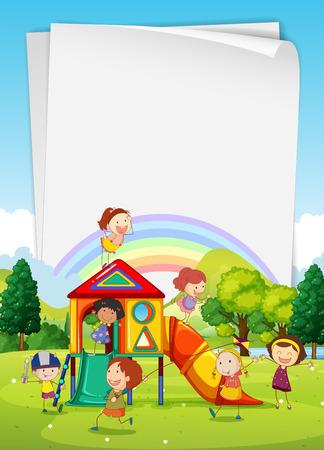 papalote: diseño de la frontera con los niños en el patio de la ilustración