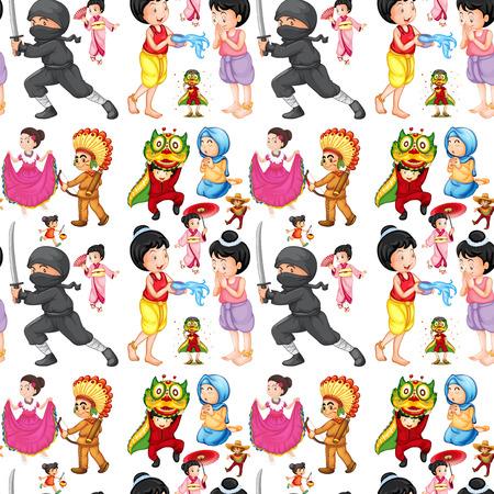 inconsútil de los niños de diferentes culturas ilustración