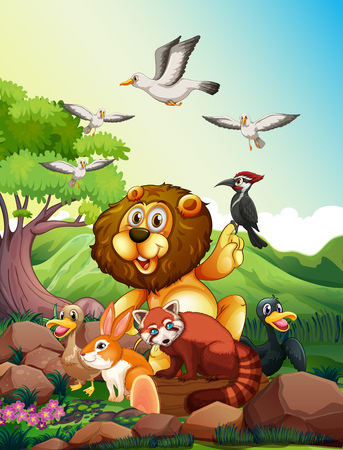 carnivorous: Wild animals living in the forest illustration