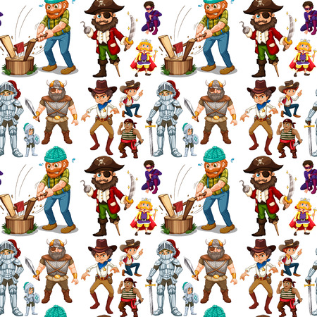 man at work: Men in different costume illustration