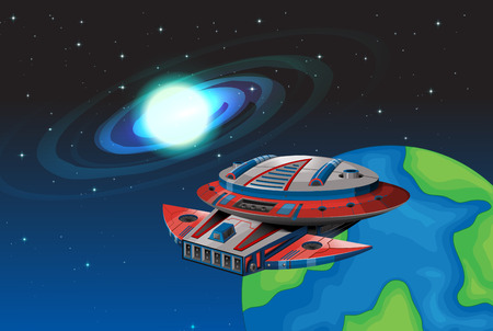 unidentified: Spaceship floating in the dark space illustration
