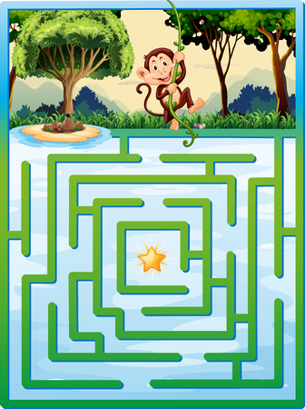 Maze puzzle with monkey in the jungle illustration Illustration