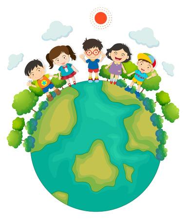 Bambini in piedi intorno alla terra illustrazione Archivio Fotografico - 50693508