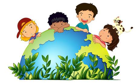 planeta tierra feliz: Los niños de todo el mundo ilustración
