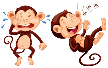 sad cartoon: Monkey crying and laughing illustration