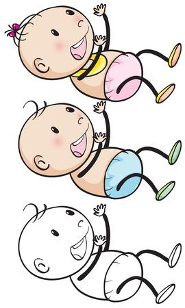 baby girls: Doodles baby boy and girl illustration Illustration