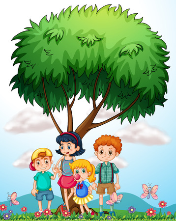plant stand: Children standing under the tree illustration