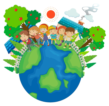 Children standing around the world illustration