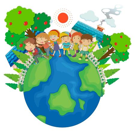 Children standing around the world illustration