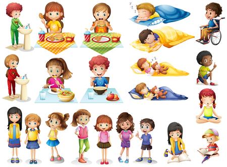 子供と異なるルーチンの図  イラスト・ベクター素材