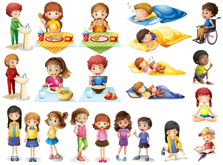 girl sleep: Kids and different routines illustration Illustration