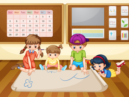clip art youth: Children drawing on paper in classroom illustration