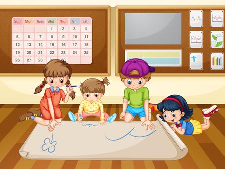 niños escribiendo: Los niños de dibujo en papel ilustración en el aula