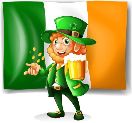 hombre tomando cerveza: Hombre irland�s ilustraci�n bebiendo cerveza