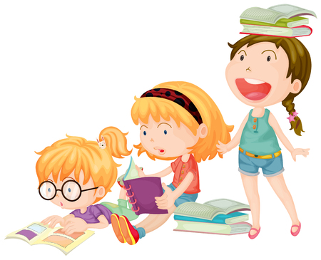 cartoon reading: Three girls enjoy reading books illustration