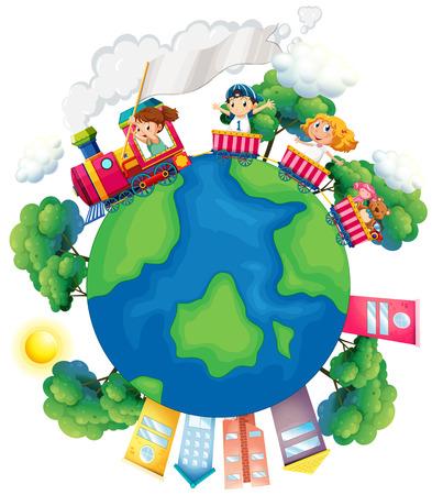 Les enfants qui voyagent dans le train autour de l'illustration du monde Banque d'images - 50684532