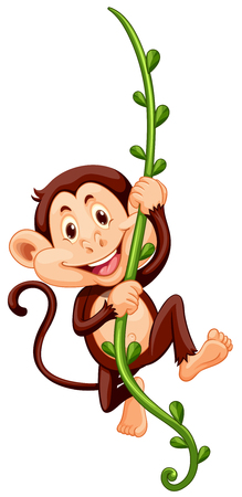 Monkey climbing up the vine illustration Vectores