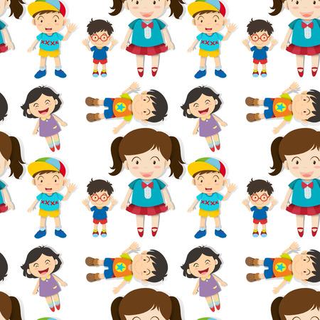 happy kids cartoon: Seamless cute boys and girls illustration