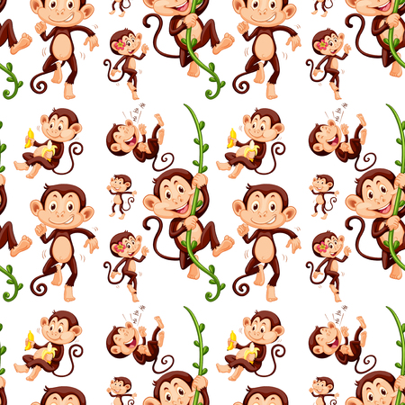 git: Seamless monkey in different actions illustration