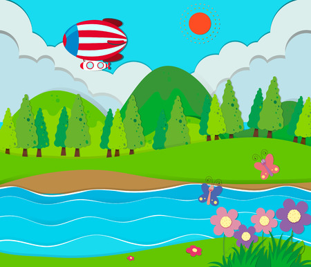 stream: Nature scene with river and balloon illustration