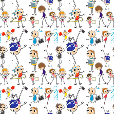 hulahoop: Seamless kids doing different activities illustration