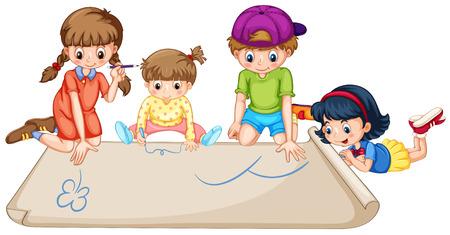 niños dibujando: Niños que drenan en papel ilustración