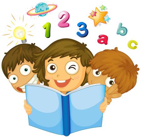 chicos: Niños que leen la ilustración de libros de matemáticas Vectores