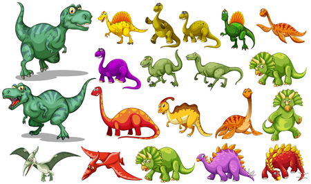 Different kind of dinosaurs illustration