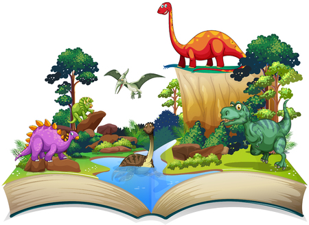 tropical forest: Book of dinosaur in the forest illustration