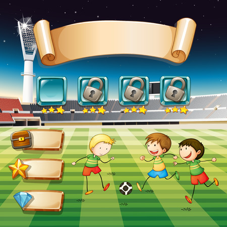 football kick: Game template with children playing soccer illustration Illustration