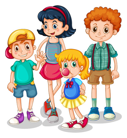 mates: Boys and girls standing in group illustration
