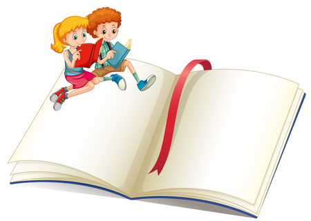 girl reading book: Boy and girl reading book illustration Illustration