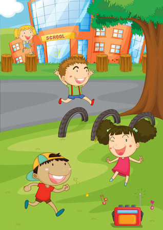 college girl: Children playing in the playground illustration