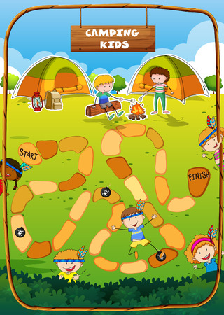 camping site: Boardgame template with camping theme illustration