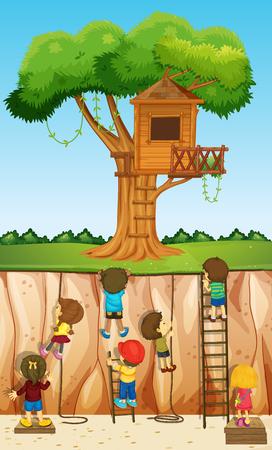 rope ladder: Children climbing up the cliff illustration Illustration