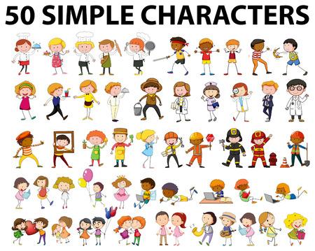 personnage: Cinquante type de personnes illustration différente Illustration
