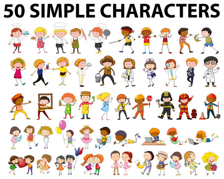 baker: Fifty different type of people illustration