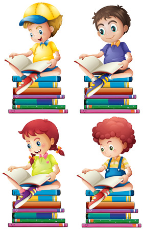 happy people white background: Boy and girl reading books illustration