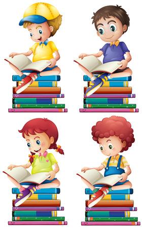 Niño y una niña leyendo libros ilustración