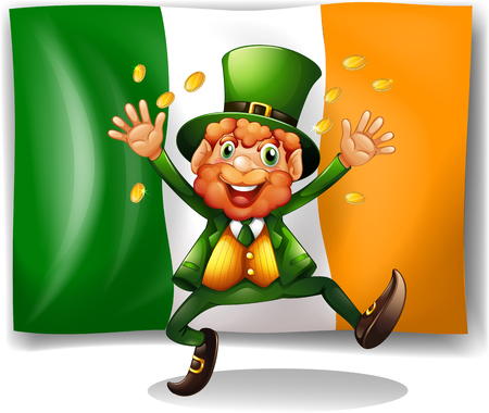 parades: Leprechaun with golden coins by the flag illustration Illustration
