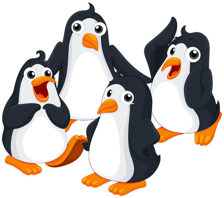 flightless: Four penguins with happy face illustration