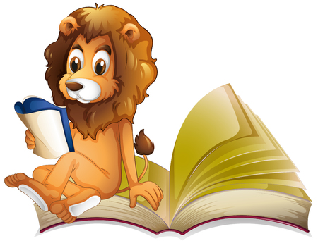 storybook: Lion reading storybook alone illustration