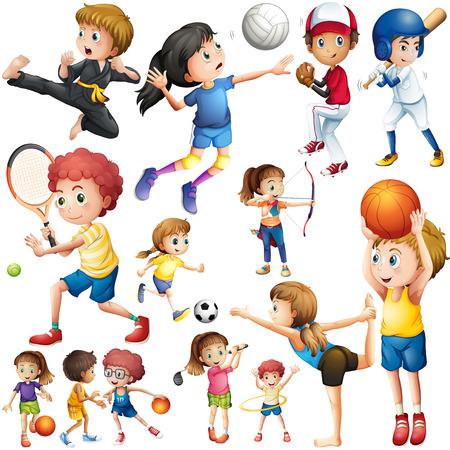 teen golf: Niños que hacen diferentes tipos de ilustración deportes Vectores