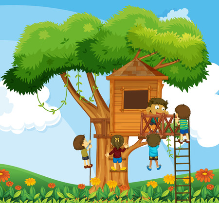 climbing up: Children climbing up the treehouse in the garden illustration Illustration