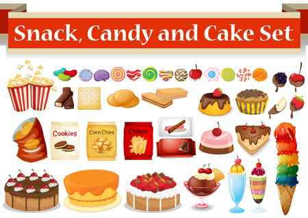 chocolate cupcake: Many kind of snack and candy illustration