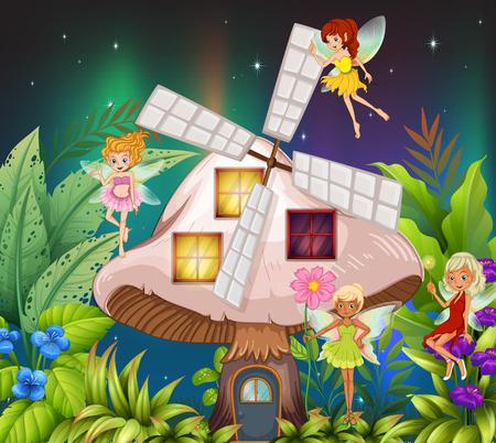 dark elf: Fairies flying around the mushroom hosue at night illustration